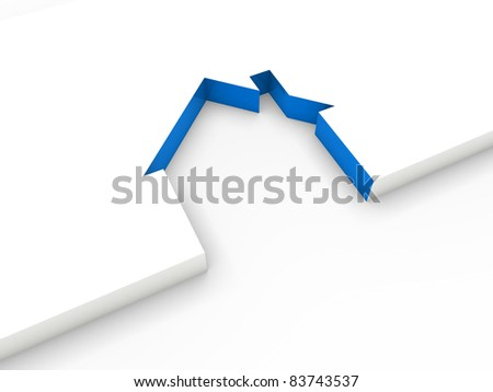 3d house line blue white home estate