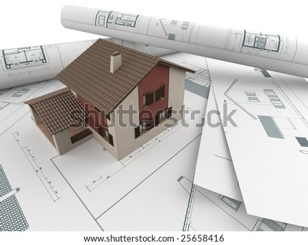 3D house model emerging from architectural drawings