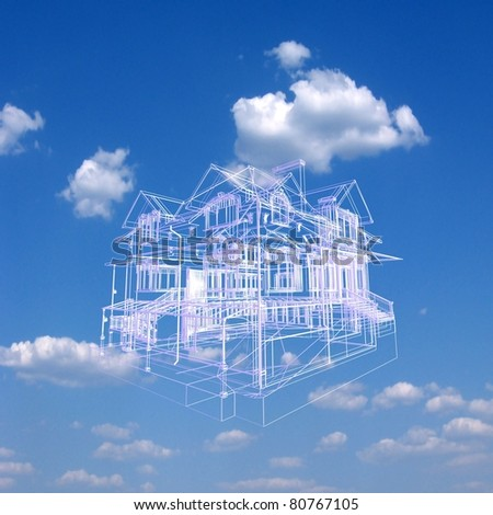 3D house model on beautiful sky background. Concept - eco house.