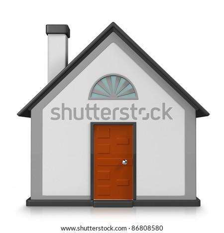 3D house on white background. 3d render.