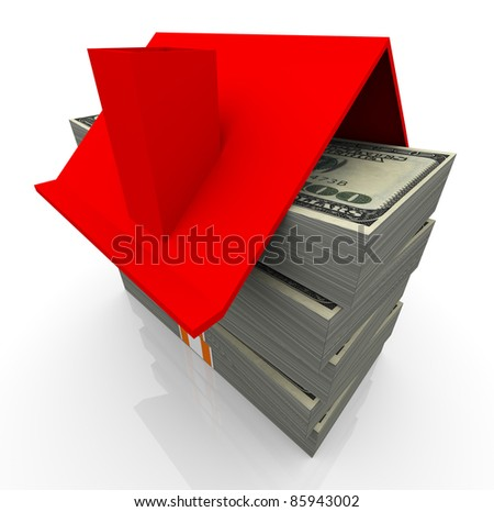 3d house red roof on the stacks of dollar bills. concept of real estate business
