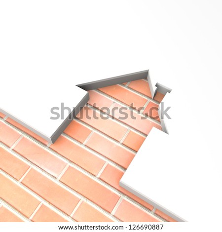 3d house shape brick metaphor. With space for your text and picture