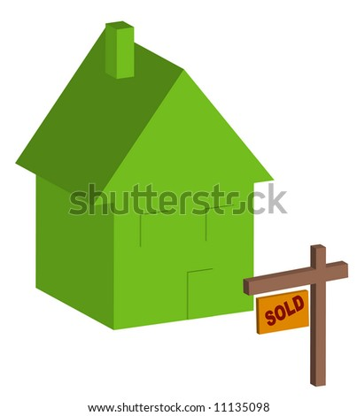3d house with sold sign out front