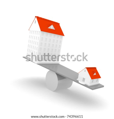 3d houses isolated on white background