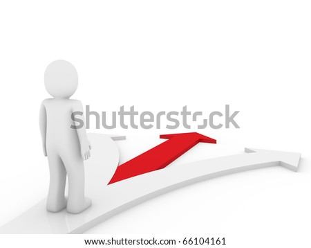 3d human arrow direction way red isolated white background - stock photo