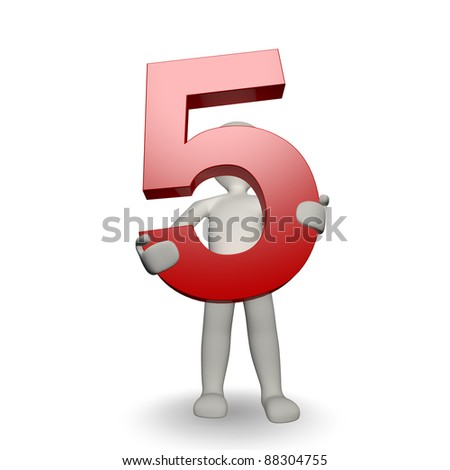 3D Human character holding number five, 3d render, isolated on white