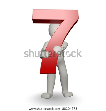 3D Human character holding number seven, 3d render, isolated on white