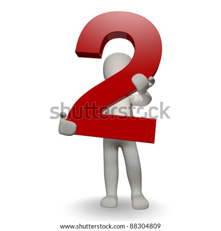 3D Human character holding number two, 3d render, isolated on white