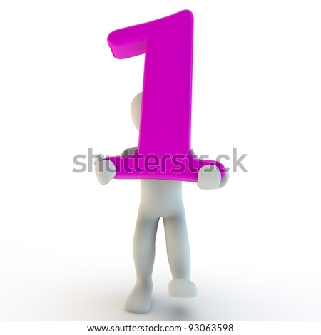 3D Human character holding pink number 1, 3d render, isolated on white