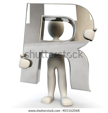 3D Human character holding silver alphabet letter R, 3d render, isolated on white