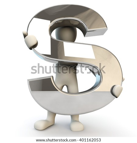 3D Human character holding silver alphabet letter S, 3d render, isolated on white