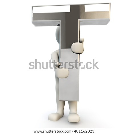 3D Human character holding silver alphabet letter T, 3d render, isolated on white