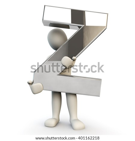 3D Human character holding silver alphabet letter Z, 3D render, isolated on white