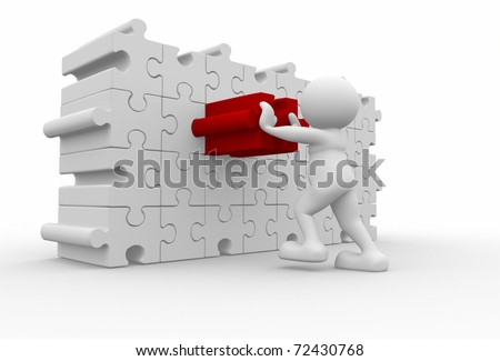 3d human character pushing different puzzle piece - 3d render