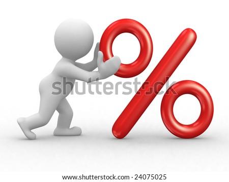 3d human character that push a big percent symbol