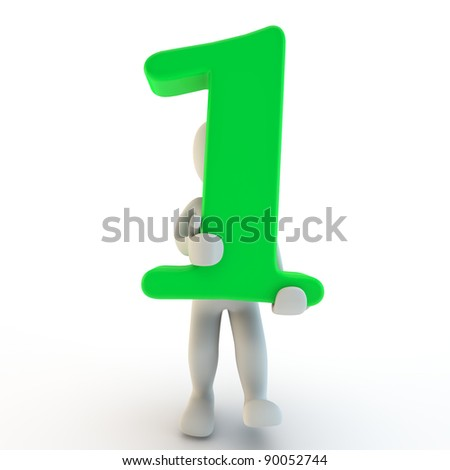 3D Human charcter holding green number one, 3d render, isolated on white