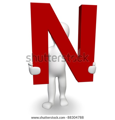 3D Human charcter holding red letter N, 3d render, isolated on white