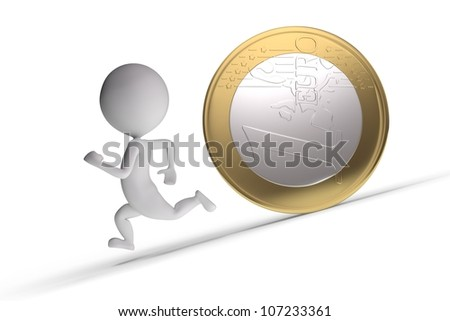 3d human chased by a coin on white background