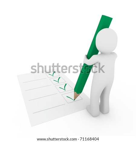 3d human check box paper pen pencil green