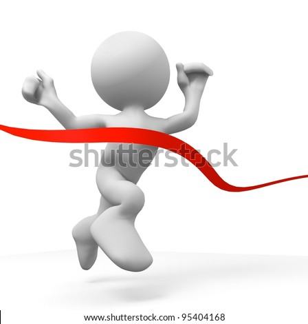 3d human crossing the finishing line. 3d illustration