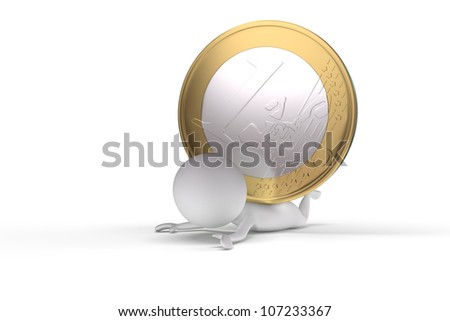3d human crushed by a coin on white background