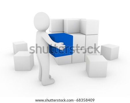 3d human cube box blue white success business isolated