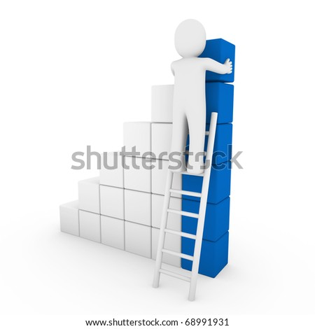 3d human cube ladder blue white success business isolated