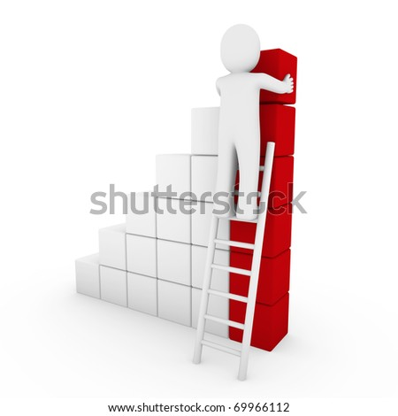 3d human cube ladder red white success business isolated