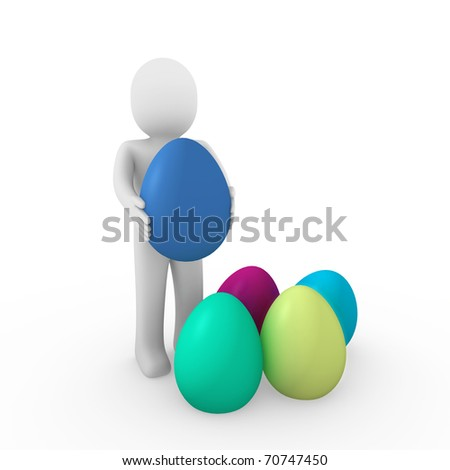 3d, human, easter, egg, green, blue, yellow, pink