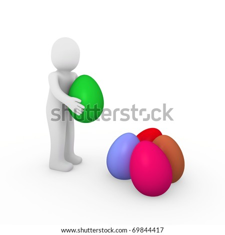 3d, human, easter, egg, purple, green, pink, red