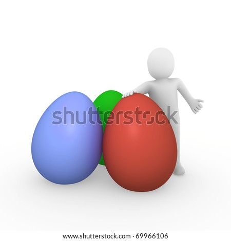 3d, human, easter, egg, red, green, blue, holiday