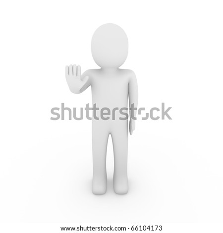 3d human hand stop isolated white background - stock photo