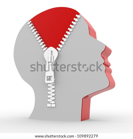 3d human head and o open zipper. Concept of intelligence