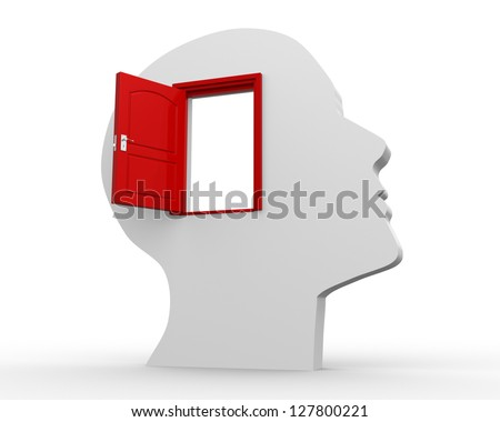 3d - human head with open door. 3d render