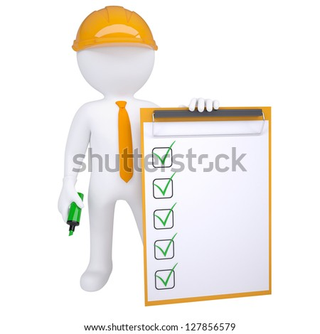 3d human in helmet with marker and check list. Isolated render on white background