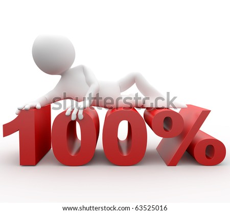 3D human lying at 100 percent - stock photo