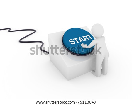 3d human man button blue start push business