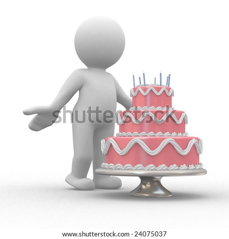 3d human on front of a big birthday cake