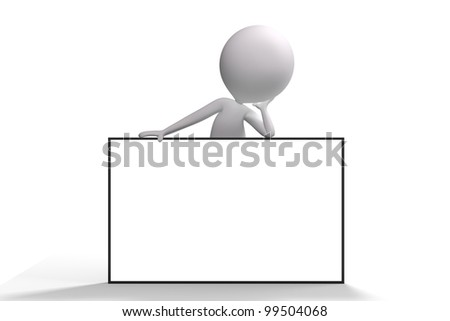 3d human on top of an big advertising billboard on white background