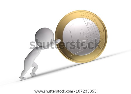 3d human pushes a big coin on white background - stock photo