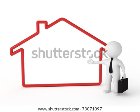 3d human - real estate agent with board