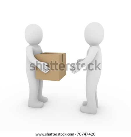 3d, human, shipping, transport, container, box, package, man