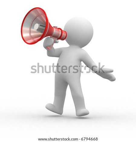 3d human shout with a red megaphone