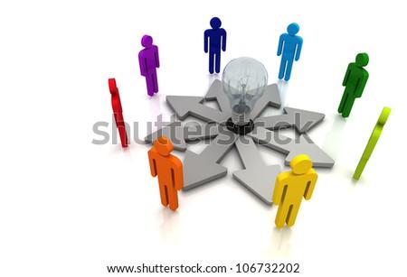 3D Human teamwork direction concept light bulb link colorful white background
