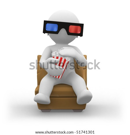 3d human wearing 3d glasses and eating popcorn
