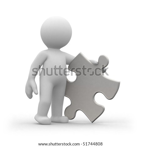 3d human with a big puzzle piece in hands