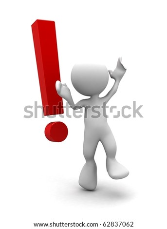 3d human with a red exclamation mark. 3d illustration.