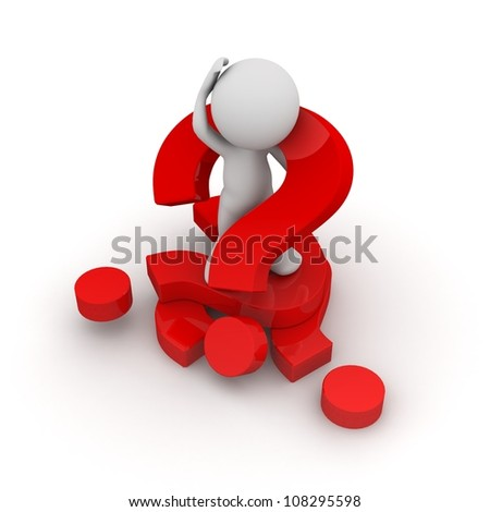 3d human with a red question mark. 3d illustration.