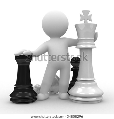 3d human with big chess pieces