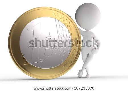 3d human with big coin on white background